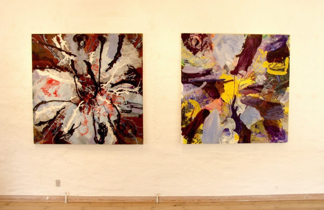 Painting on 1st floor | From left: REMBRANDT HEADS and UNTITLED (both 130x130 cm)